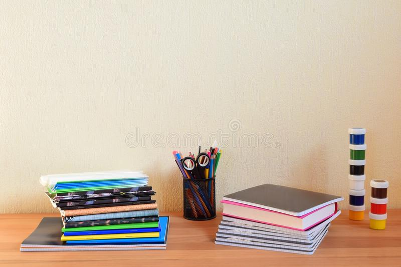 School supplies on table stock photography