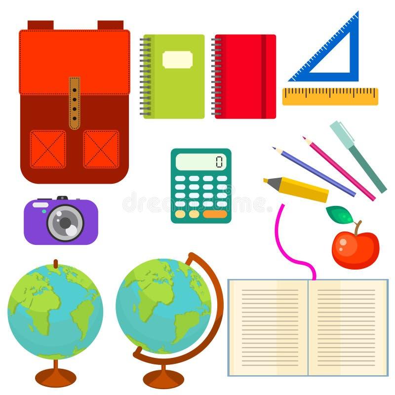 School supplies vector clip art objects. stock illustration