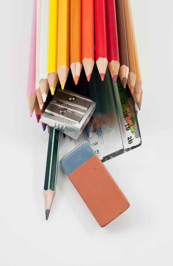 Download School Supplies On A White Background Stock Photo - Image of supply, write: 15693642