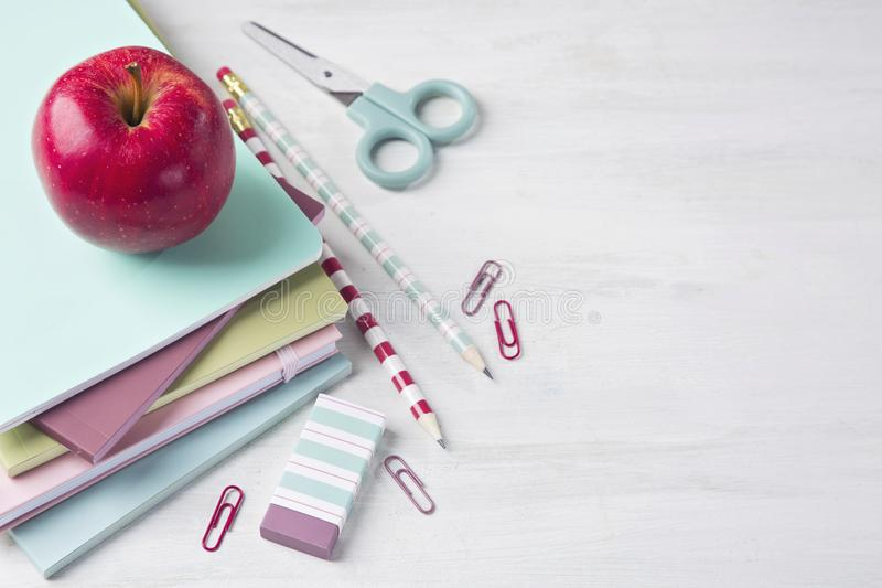 School supplies. On a wooden background stock photos