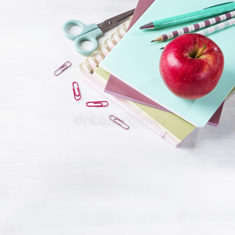 School supplies on a wooden background. With copy space stock photo
