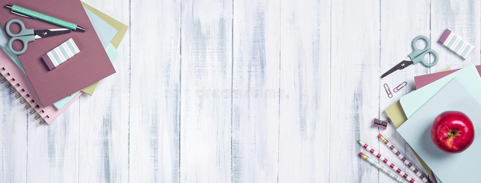 School supplies on a wooden background. With copy space stock photos