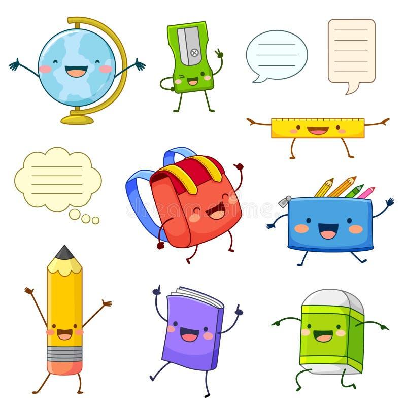 School supply cartoon characters. Set of cartoon characters of school supply items with happy faces royalty free illustration