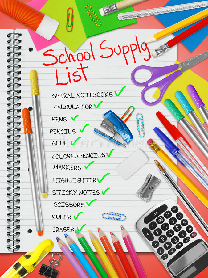 School Supply List stock photo. Image of clips, lined ...