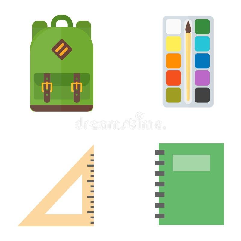 School symbols vector set. Set of education school symbol science icons on white background. Student graduate childhood primary preschooler learning vector vector illustration