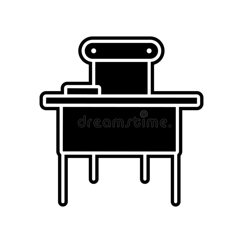 School table icon. Element of education for mobile concept and web apps icon. Glyph, flat icon for website design and development. App development on white royalty free illustration