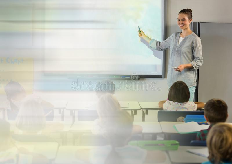 School teacher with class royalty free stock photography