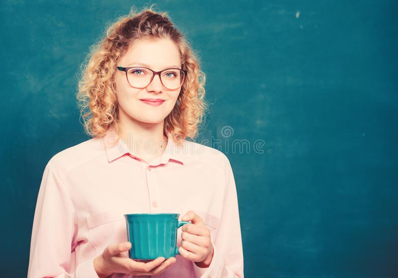 School teacher need coffee break. good morning. girl refreshing with tea drink. energy and vigor. energy reserves refill. Idea and inspiration. woman with royalty free stock images