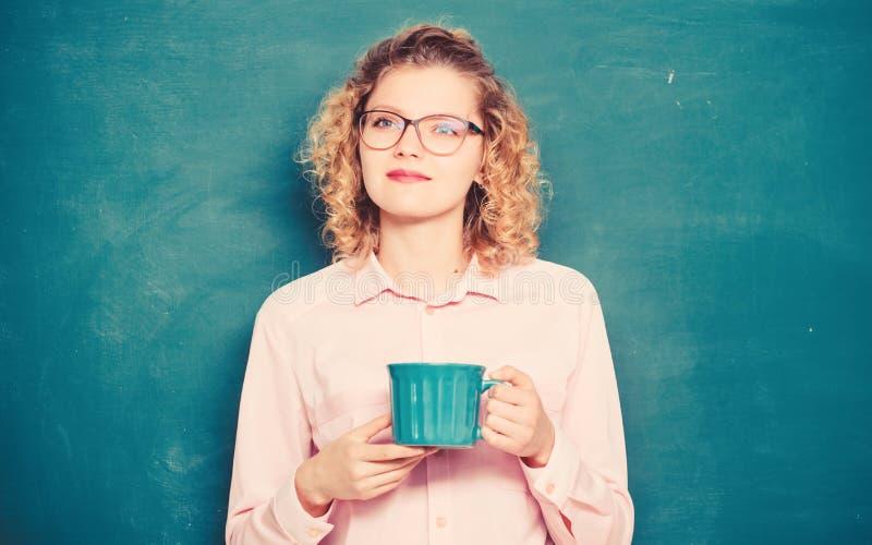School teacher need coffee break. idea and inspiration. good morning. girl refreshing with tea drink. energy and vigor stock photos