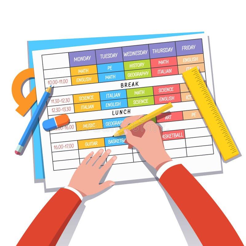 Modern Classroom Clipart ~ School teacher or student drawing a class schedule stock