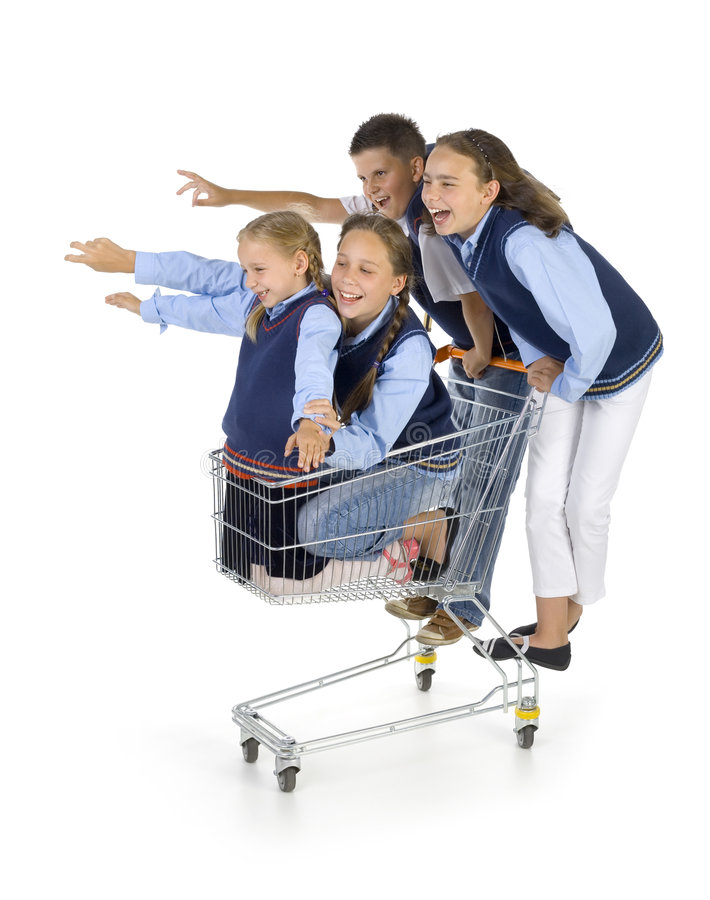School team with trolley royalty free stock image