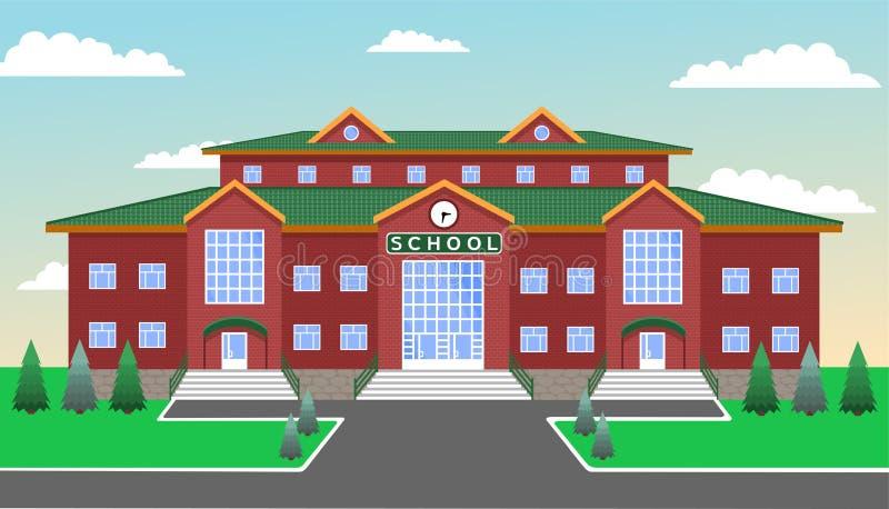 School tegen de blauwe hemel, met gazon, wegen, spar en sparren stock illustratie