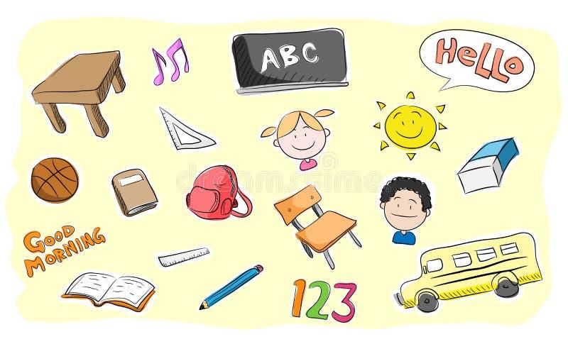 School Theme Doodle Set stock illustration