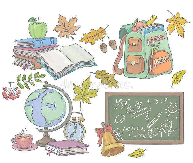 School tillbehör royaltyfri illustrationer