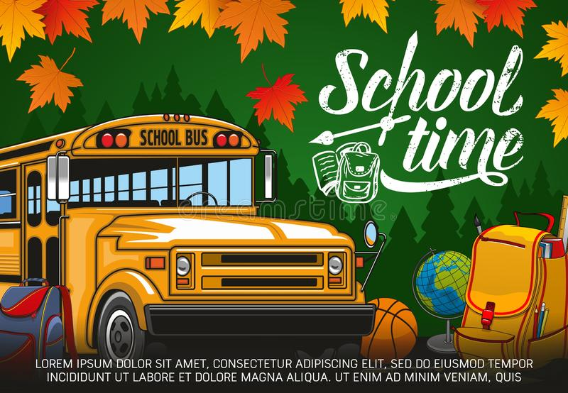 School time lettering, bus, backpack and globe royalty free illustration