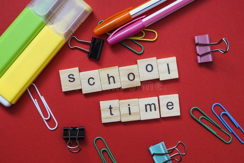 School time words over a kid`s school desk. Close up royalty free stock images