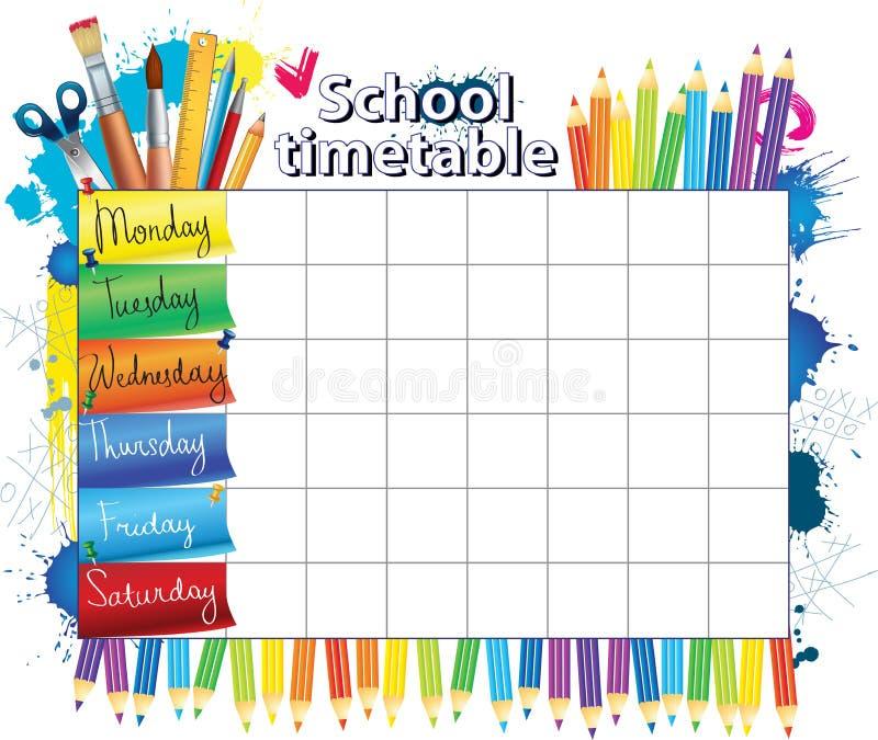 School timetable stock illustration