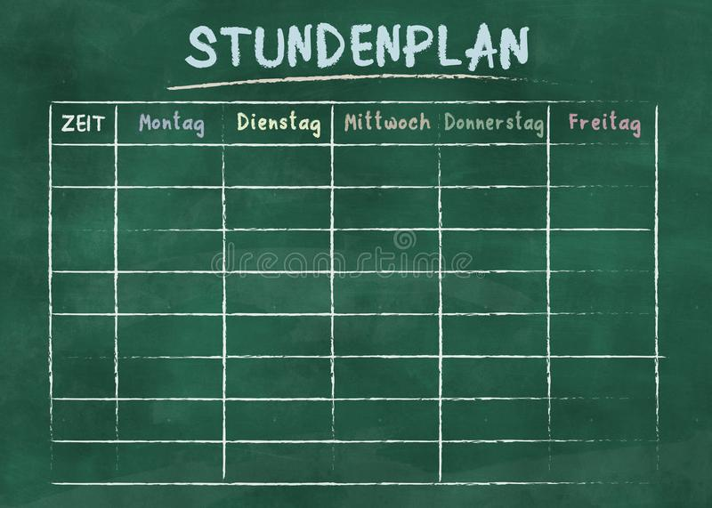 School timetable or class schedule on green chalkboard stock photo
