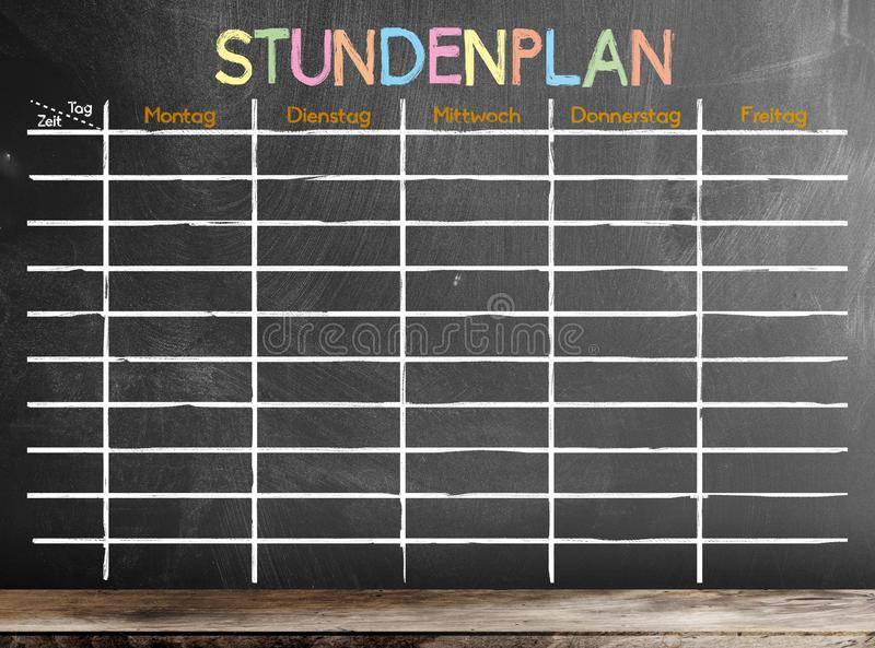 School timetable or class schedule template on chalkboard royalty free stock images