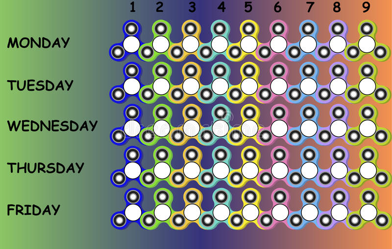 School timetable with colorful fidget spinners for kids and teenagers, time sheet. stock illustration