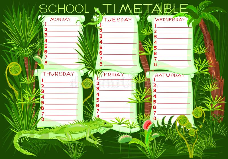 School timetable. With green iguana stock illustration