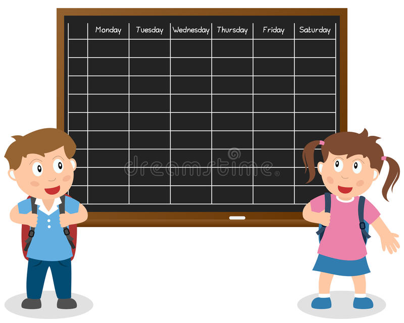 School Timetable with Kids stock illustration