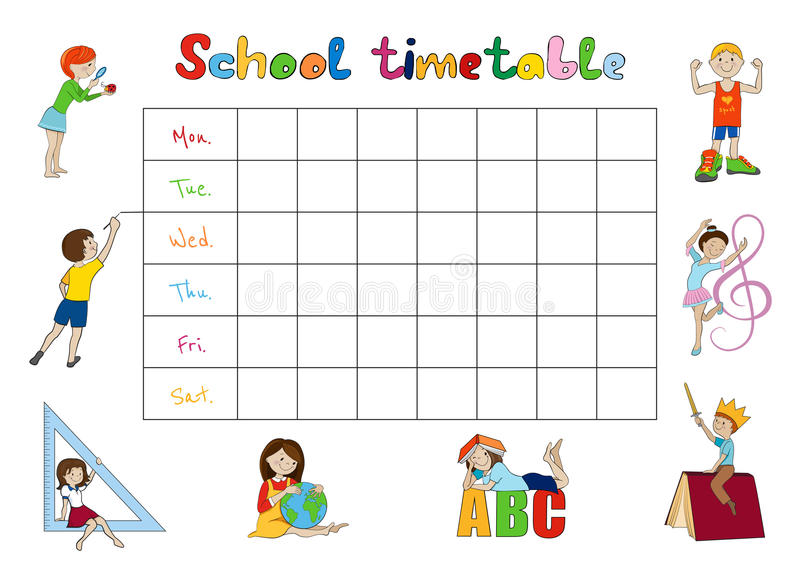 School Timetable Kids Weekly Planner Vector Stock Vector