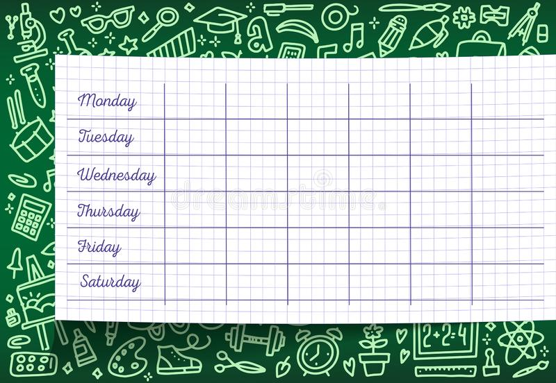 School timetable of lesson schedule template on checkered sheet. Weekly lesson plans on green chalkboard, decorated with pattern stock photography