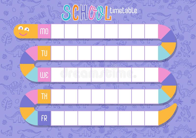 School timetable of lessons for students with snake. Designed especially for nursery children. Weekly schedule vector template. royalty free illustration