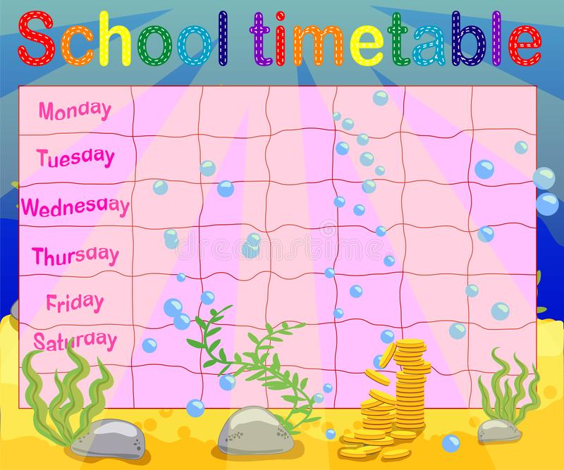 School timetable with marine themes, table, underwater world royalty free illustration