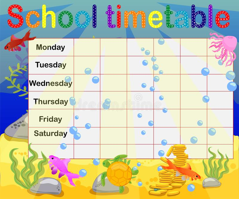 School timetable with marine themes, table, underwater world stock illustration