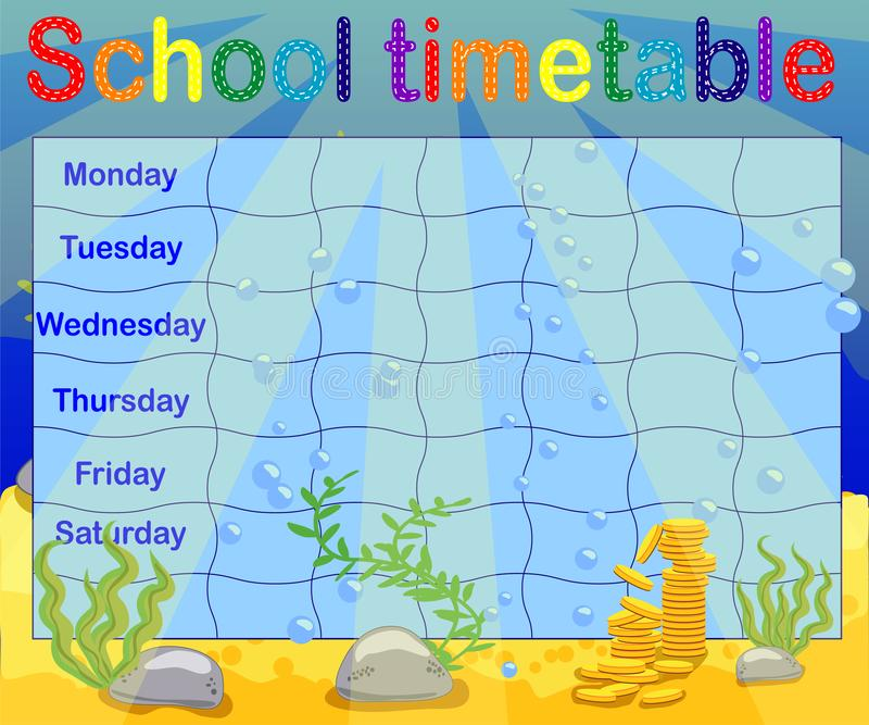 School timetable with marine themes, table, underwater world vector illustration