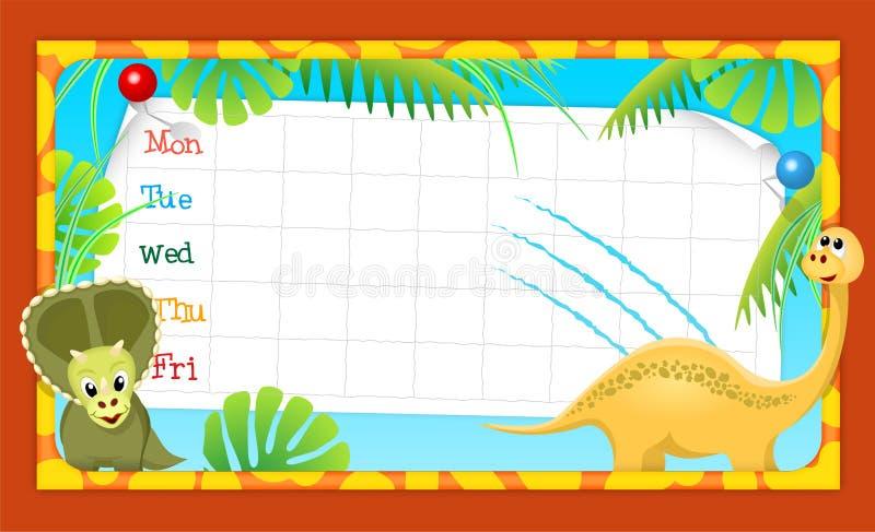 School timetable with merry dinosaurs, illustratio