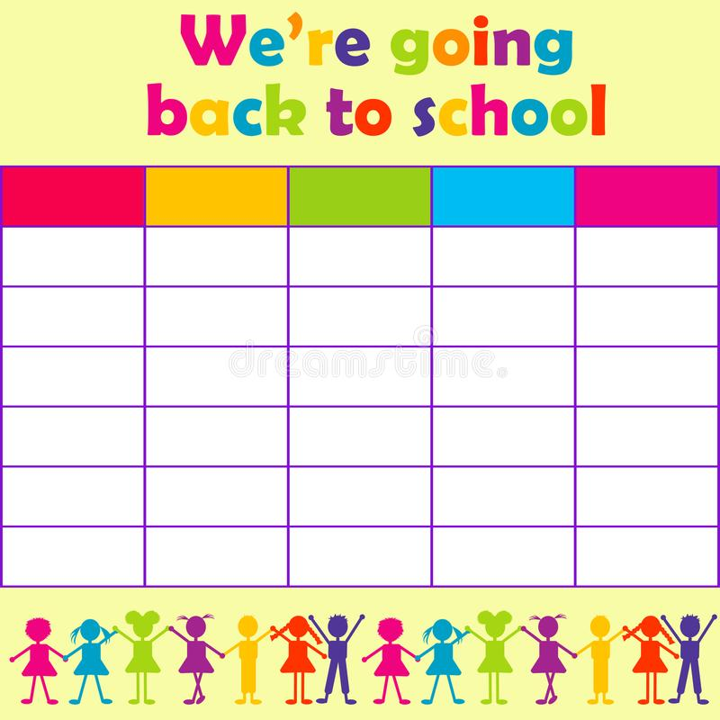 School timetable with stylized kids royalty free illustration