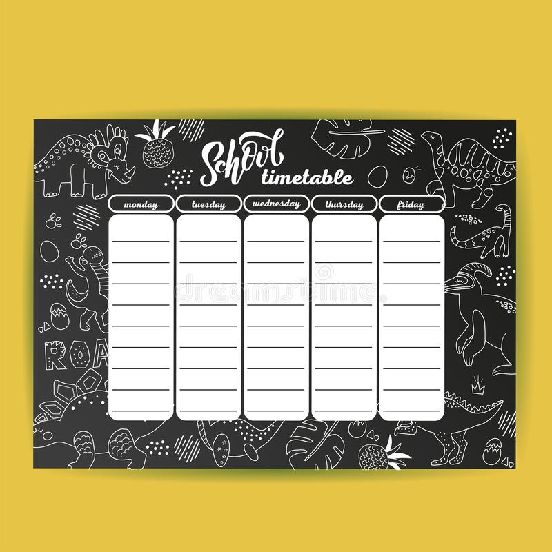 School timetable template on chalk board with hand drawn dino. Weekly lessons shedule in sketchy style decorated with doodles on royalty free illustration