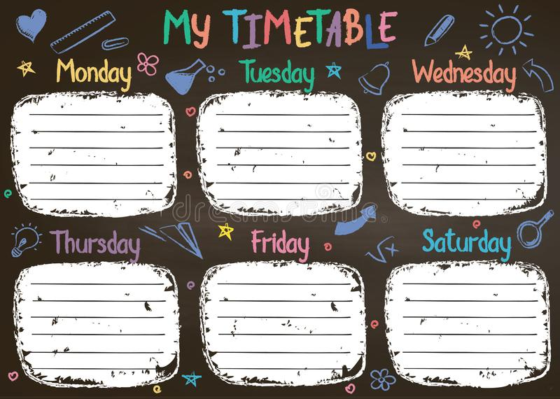 School timetable template on chalk board with hand written colored chalk text. Weekly lessons shedule in sketchy style decorated with hand drawn school doodles royalty free illustration