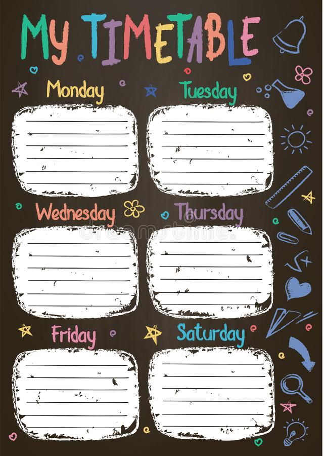 School timetable template on chalk board with hand written colored chalk text. Weekly lessons shedule in sketchy style decorated with hand drawn school doodles vector illustration