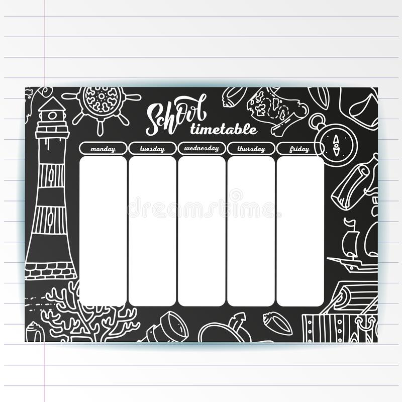 School timetable template on chalk board with hand written chalk text and Adventure sea symbols. Weekly lessons shedule in sketchy stock illustration