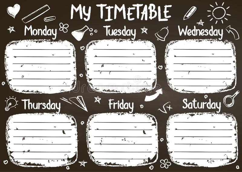 School timetable template on chalk board with hand written chalk text. Weekly lessons shedule in sketchy style decorated with hand drawn school doodles on stock illustration
