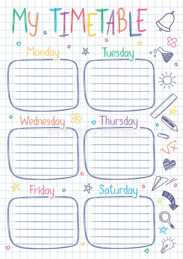 School timetable template on copy book sheet with hand written text. vector illustration