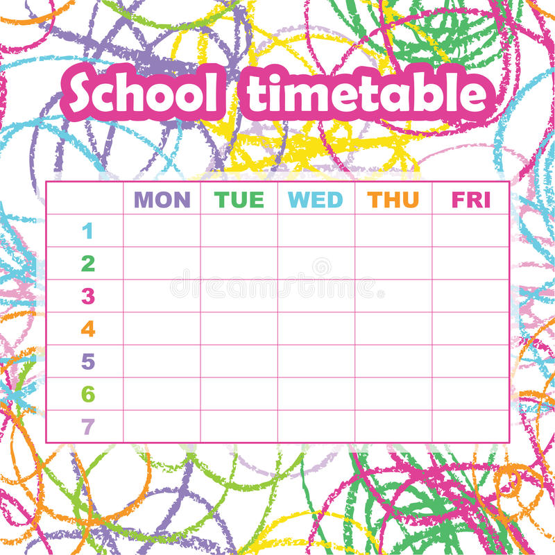 School Timetable Template For Students And Pupils Abstract Scri