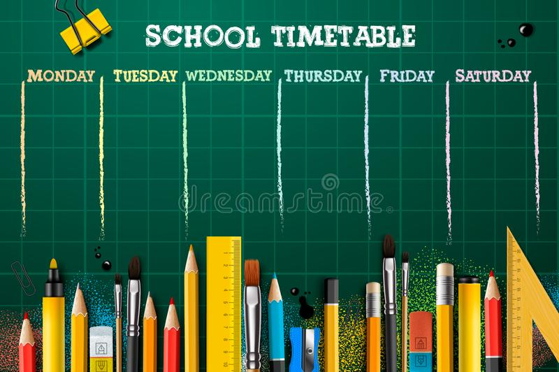 School timetable template for students or pupils. Vector Illustration royalty free stock photo