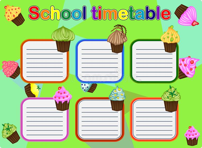 School Timetable, a weekly curriculum design template, scalable graphic with watercolor butterflies vector illustration