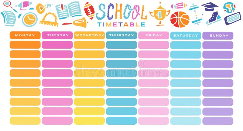 School Timetable, a weekly curriculum design template, scalable vector graphic with gradient transition. Vector Template School vector illustration