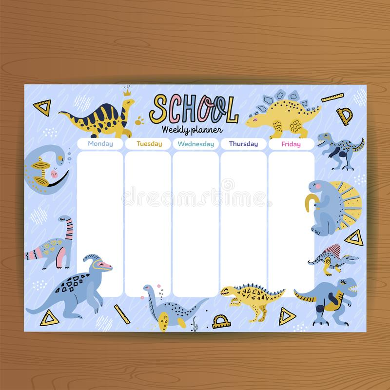 School timetable and weekly schedule vector template. Student lesson plans with cute cartoon dinosaurs and dino eggs on blue stock illustration