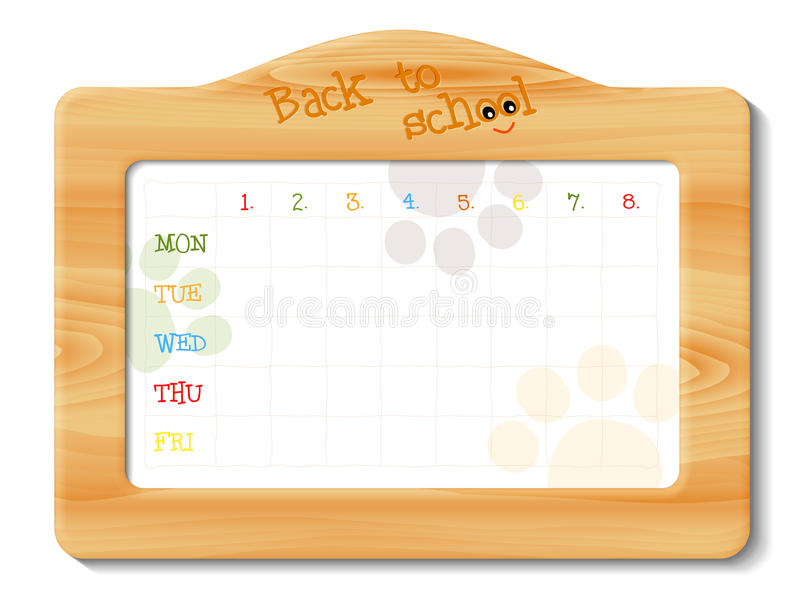 School timetable in wooden frame royalty free illustration