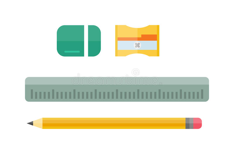 School tools supplies assortment individually isolated on white. vector illustration