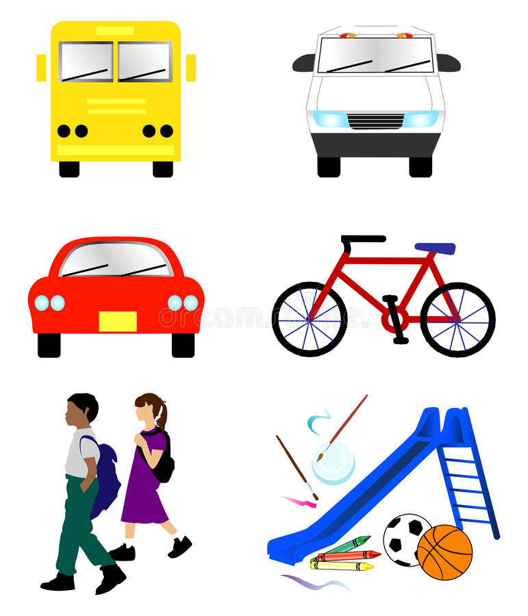 Free School Transportation Icons Stock Images - 20714294