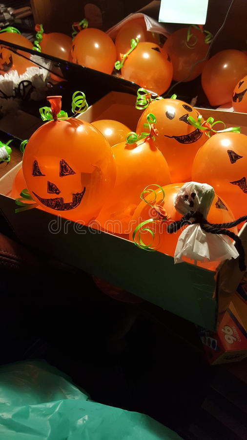 School treats halloween balloons stock image