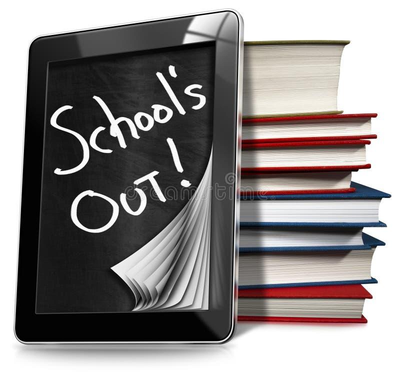 Download School Uit - Tabletcomputer Met Boeken Stock Illustratie - Illustratie bestaande uit technologie, zwart: 54079145